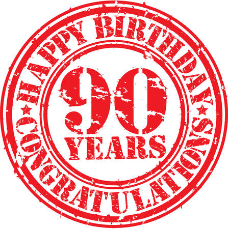 90: Happy birthday 90 years grunge rubber stamp, vector illustration