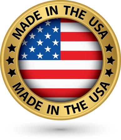 アメリカのゴールド ラベルで作られて、ベクトル イラスト  イラスト・ベクター素材