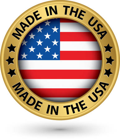 ville usa: Made in the USA �tiquette d'or, illustration vectorielle Illustration