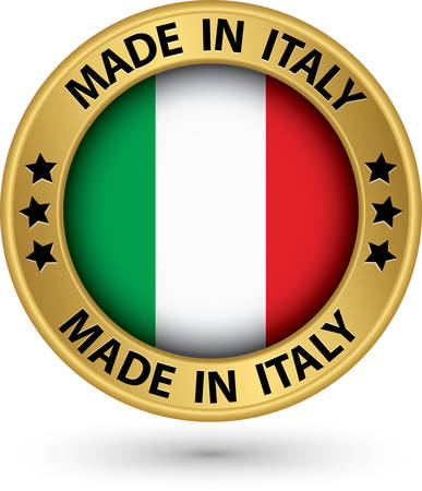 made in: Made in Italy gold label, vector illustration