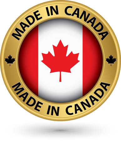 Made in Canada gold label, vector illustration