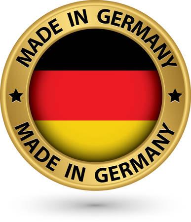 bandera de alemania: Hecho en la etiqueta de oro de Alemania, ilustraci�n vectorial