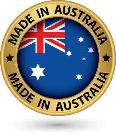 Gemaakt in Australië goud label, vector illustratie