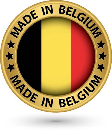 Made in Belgium gold label, vector illustration Vector