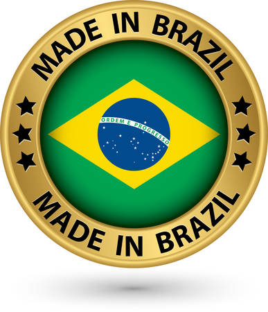 Hecho en la etiqueta de oro de Brasil, ilustración vectorial Foto de archivo - 26622866