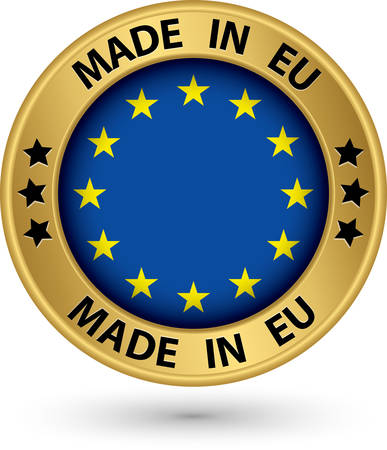 Made in Europe gold label, vector illustration