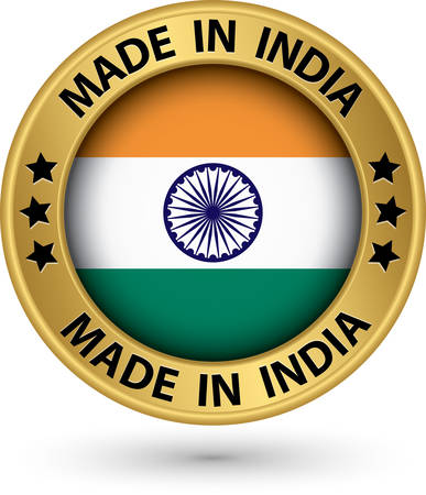 Made in India gold label, vector illustration Vector