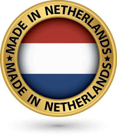 made in netherlands: Made in Netherlands gold label, vector illustration