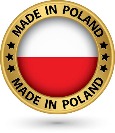 bandera de polonia: Hecho en la etiqueta de oro de Polonia, ilustración vectorial