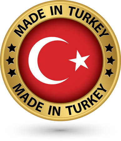 Made in Turkey gold label, vector illustration Vector