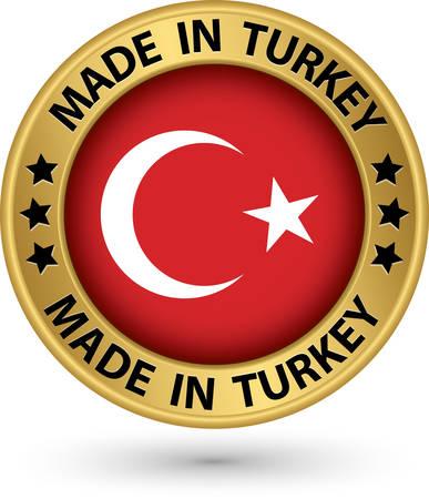 Made in Turkey gold label, vector illustration Vector