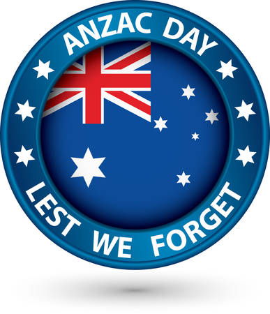 forget: Anzac Day Lest We Forget blue label, vector illustration