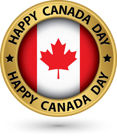 Happy Canada Day gold label, vector illustration