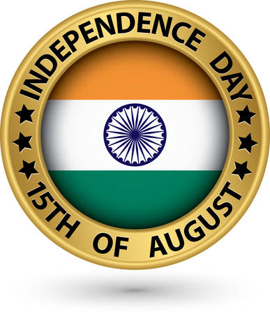 Indian Independence Day 15th of August gold label, vector illustration Vector