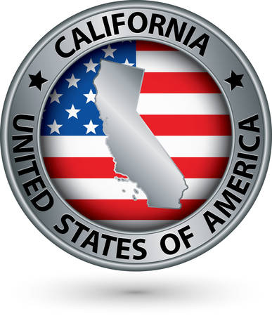 california state: California state silver label with state map, vector illustration