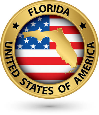 Florida state gold label with state map, vector illustration Vector