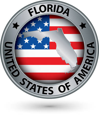 silver state: Florida state silver label with state map, vector illustration Illustration