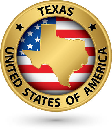 Texas state gold label with state map, vector illustration Vector