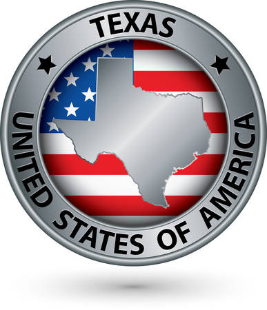 patriotic border: Texas state silver label with state map, vector illustration Illustration
