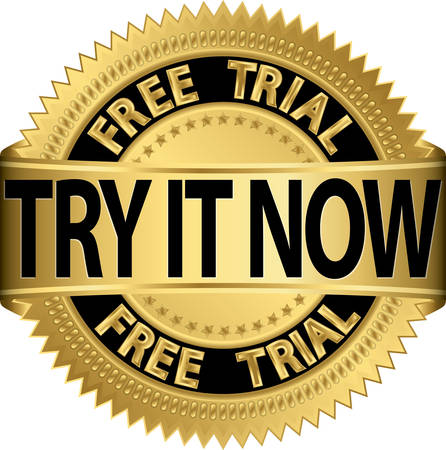 try: Free trial try it now gold label, vector illustration