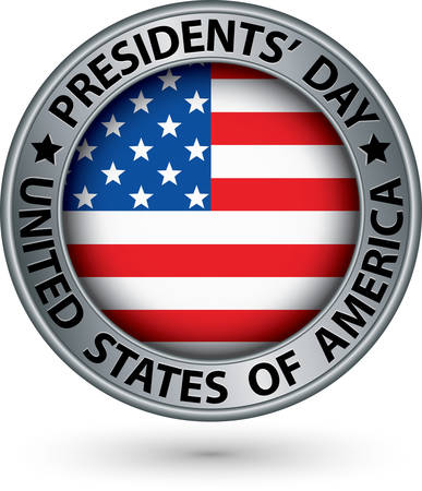 president's: Presidents day silver label with USA flag, vector illustration