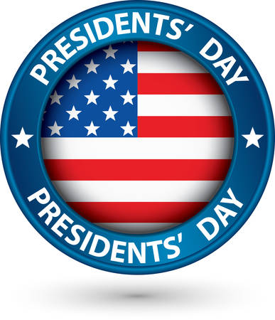 presidents day: Presidents day blue label with USA flag, vector illustration