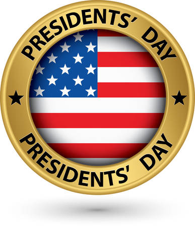 presidents day: Presidents day gold label with USA flag, vector illustration