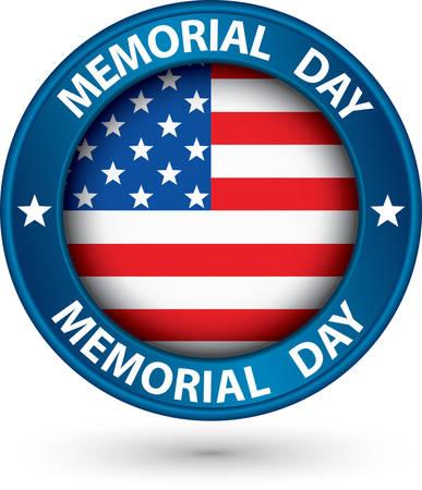 Memorial giorno etichetta blu con bandiera USA, illustrazione vettoriale Archivio Fotografico - 27339399
