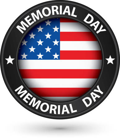 memorial day: Memorial day black label with USA flag, vector illustration