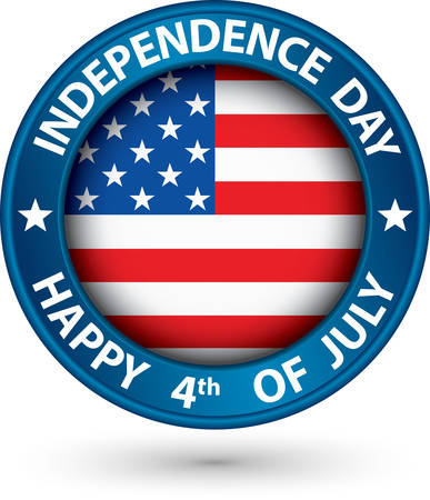 USA Independence Day happy the 4th of july blue label, vector illustration Vector