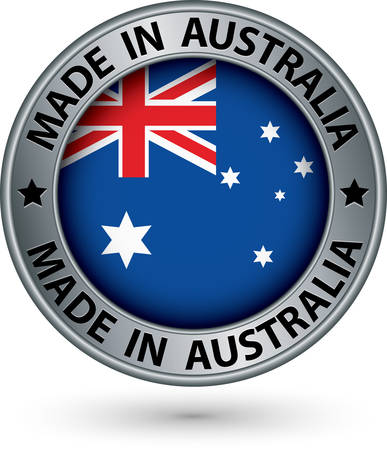 australian flag: Made in Australia silver label with flag