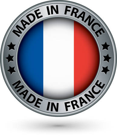 Made in France silver label with flag, vector illustration Vector