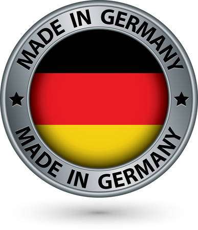 made: Made in Germany silver label with flag, vector illustration Illustration