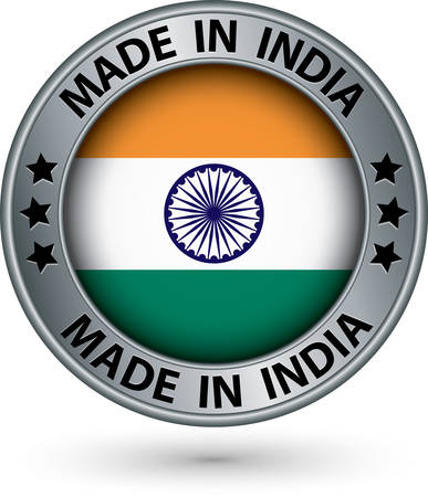 Made in India silver label with flag, vector illustration Vector