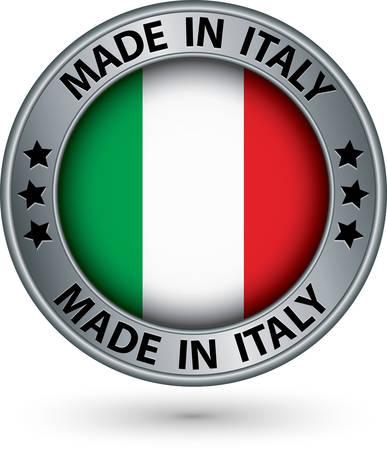 Hecho en la etiqueta de plata de Italia con bandera, ilustración vectorial