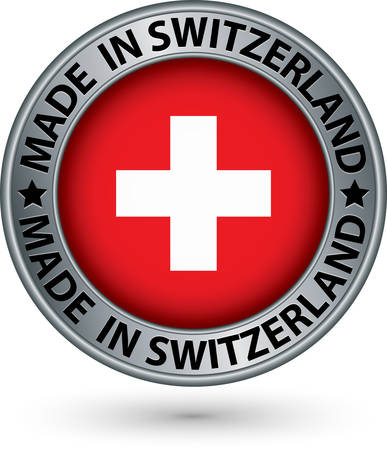 Made in Switzerland silver label with flag Vector