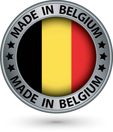 Made in Belgium silver label with flag Vector