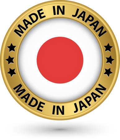 Made in Japan gold label with flag, vector illustration Vector