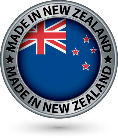 Made in New Zealand silver label with flag, vector illustration Vector