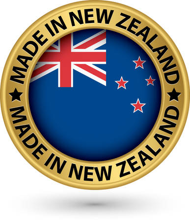 Made in New Zealand gold label with flag, vector illustration Vector