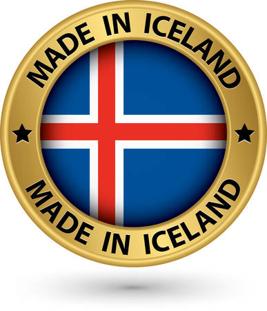 iceland: Made in Iceland gold label with flag, vector illustration