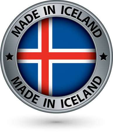 iceland: Made in Iceland silver label with flag, vector illustration Illustration