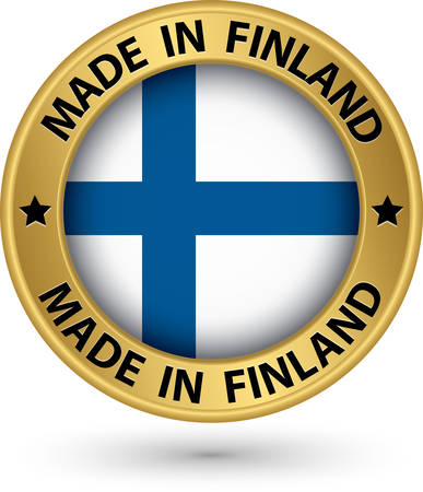 finland: Made in Finland gold label with flag, vector illustration
