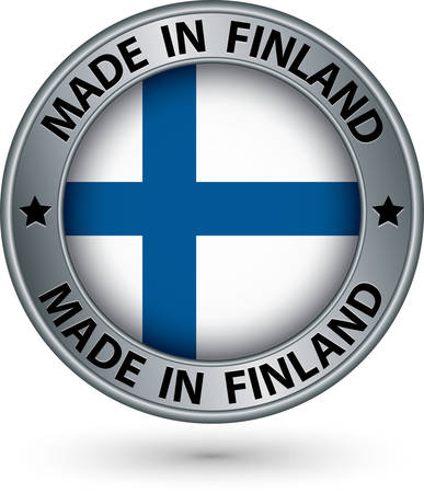 finland: Made in Finland silver label with flag, vector illustration