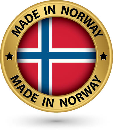 Made in Norway gold label with flag, vector illustration Vector