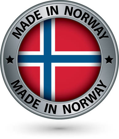 Made in Norway silver label with flag, vector illustration Vector