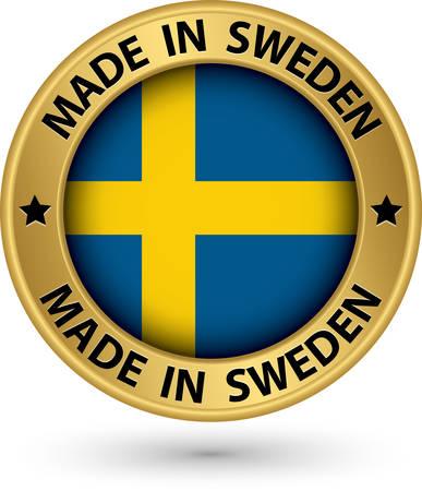 sweden flag: Made in Sweden gold label with flag, vector illustration