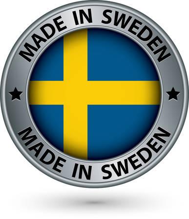Made in Sweden silver label with flag, vector illustration Illustration