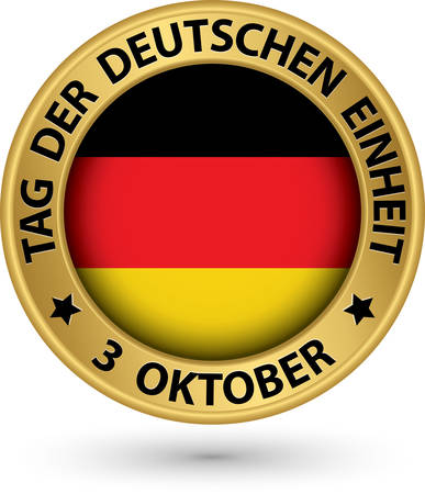 oktober: The day of german unity gold label with german flag, vector illustration