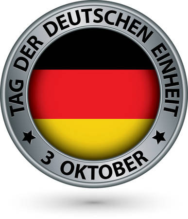 oktober: The day of german unity silver label with german flag, vector illustration
